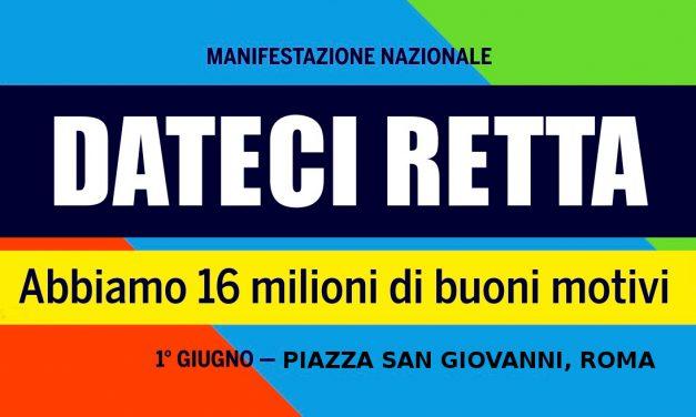 TUTTI A ROMA IL 1 GIUGNO – MANIFESTAZIONE UNITARIA DEI PENSIONATI – PIAZZA SAN GIOVANNI
