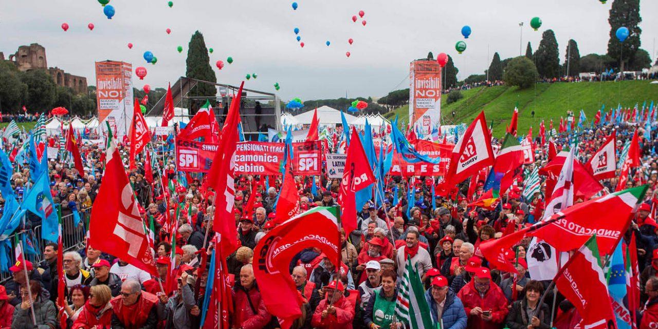"""Roma – sabato 16 novembre – Migliaia di pensionati al Circo Massimo: """"Governo ci ascolti, non siamo invisibili!"""""""