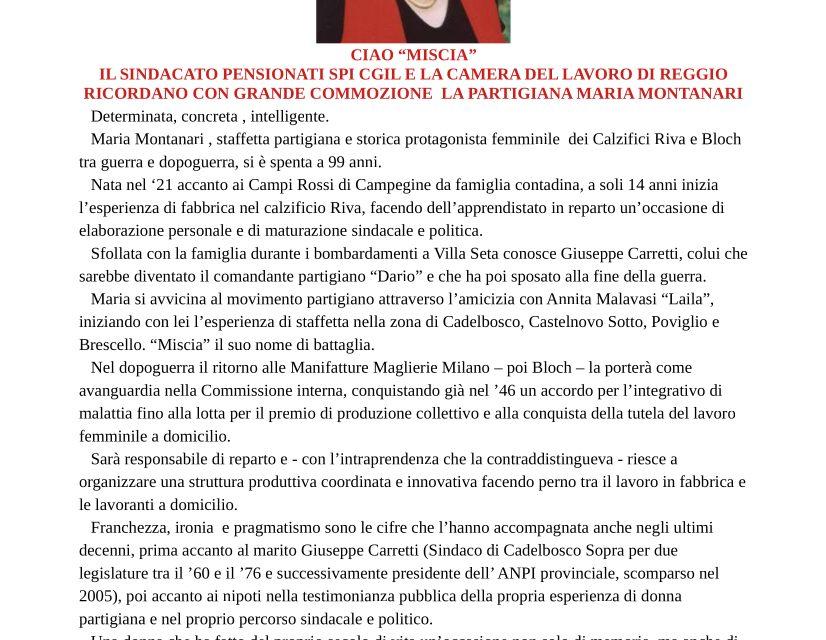 Il Sindacato Pensionati SPI-CGIL, il Coordinamento  Donne SPI-CGIL e la Camera del Lavoro di Reggio Emilia ricordano con grande commozione la partigiana Maria Montanari.
