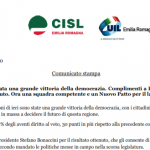 Comunicato unitario regionale sul risultato delle elezioni in Emilia Romagna