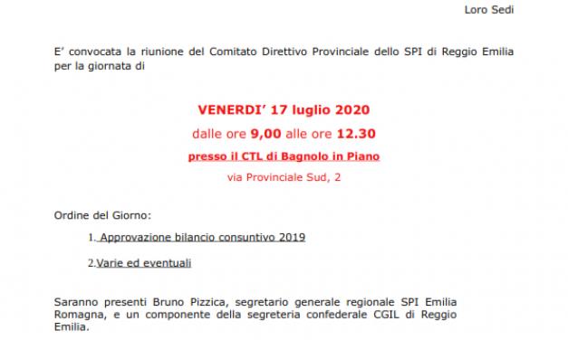 Convocata la riunione, in presenza, del Comitato Direttivo Provinciale dello SPI – Venerdì 17 luglio dalle ore 9 alle 12.30 – Sede CTL Bagnolo, Via Provinciale.