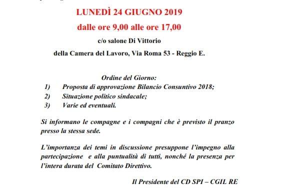 Convocata la riunione del Comitato Direttivo Provinciale dello SPI-CGIL – Lunedì 24 giugno 2019 – Dalle 9 alle 17 – Salone Di Vittorio Camera del Lavoro