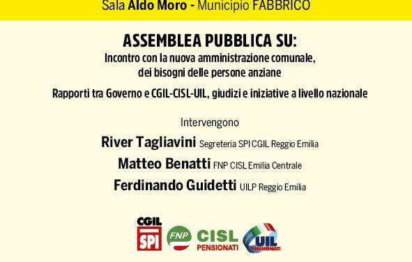 Assemblea Fabbrico: i bisogni delle persone anziane. 6 novembre 2019 – Sala Aldo Moro – Minicipio – Incontro con la nuova amministrazione comunale