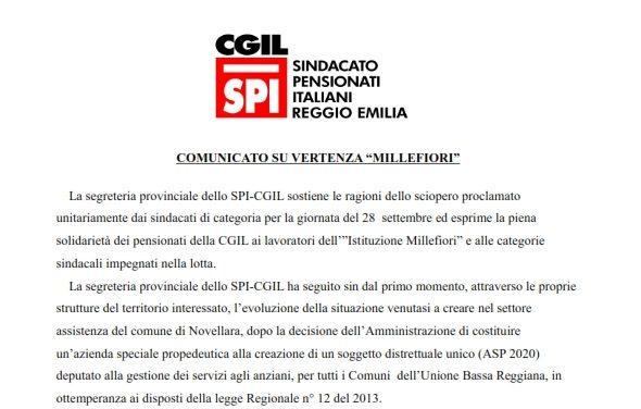 Comunicato della Segreteria Provinciale dello SPI a sostegno della lotta dei lavoratori del settore assistenza del Comune di Novellara in sciopero