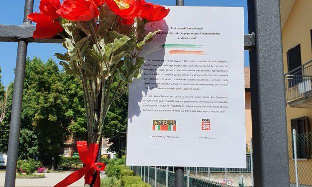 La Lega SPI di San Martino in Rio ha ricordato Sante Mussini, travolto e ucciso da un mezzo dei carabinieri mentre partecipava ad una manifestazione di mezzadri il 30 giugno del 1948
