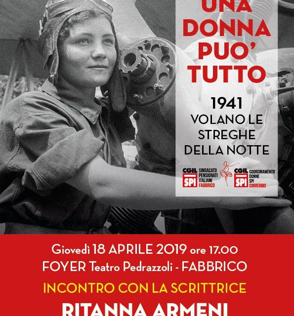 """18 aprile 2019 – Fabbrico presentazione del libro: """"Una donna può tutto"""" Incontro con la scrittrice Ritanna Armeni"""
