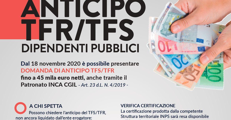 Una buona notizia per i pubblici dipendenti: ora é possibile presentare domanda per ottenere l'anticipo del TFR/TFS fino a 45.000 euro tramite il patronato INCA