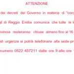 Emergenza coronavirus: le sedi dello SPI-CGIL resteranno chiuse almeno fino al 16 maggio.