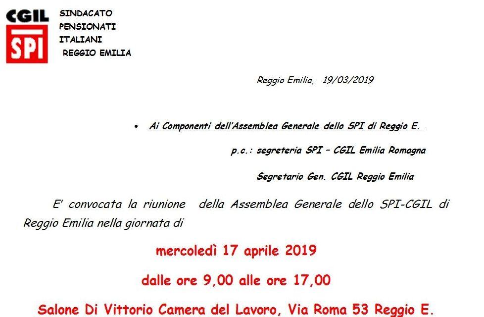 17 aprile 2019 – Convocata la riunione dell'Assemblea Generale dello SPI-CGIL