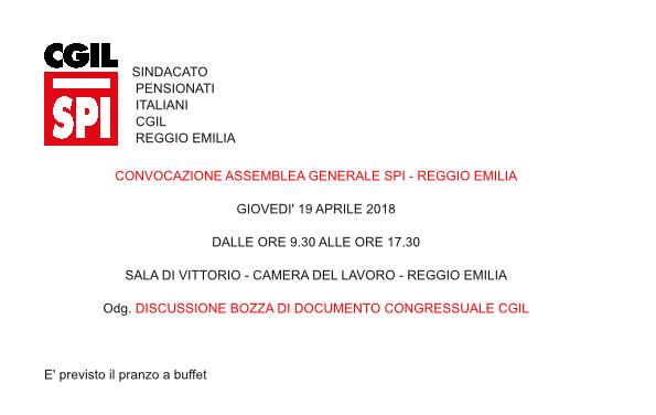 Convocata l'assemblea generale dello SPI – Reggio Emilia