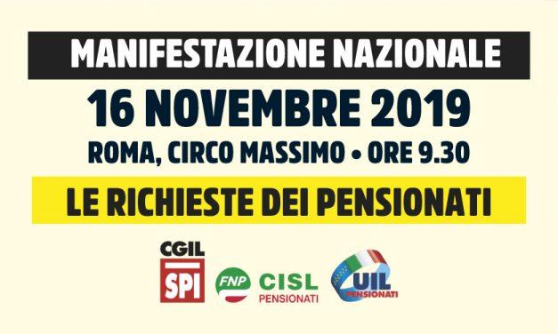 In tanti per farci sentire! L'appuntamento è per sabato 16 novembre a Roma al Circo Massimo per la manifestazione nazionale indetta da Spi-Cgil, Fnp-Cisl e Uilp-Uil. Il comunicato unitario che, dopo il deludente incontro con il Governo sui contenuti della Manovra, conferma la manifestazione.