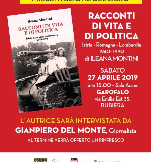 """Rubiera – 27 aprile 2019 – Presentazione del libro di Ileana Montini: """"Racconti di vita e di politica"""""""